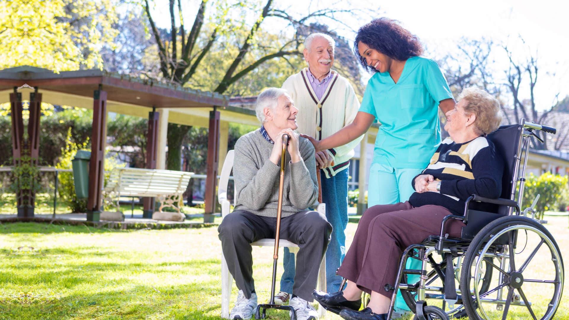 caregiver with her senior companions